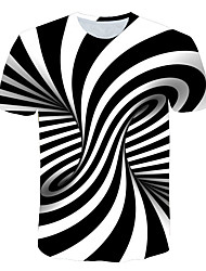 Недорогие -Муж. С принтом Футболка Круглый вырез Полоски / 3D Оранжевый / С короткими рукавами