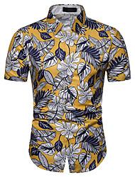 baratos -Homens Camisa Social Estampado, Floral Branco XL