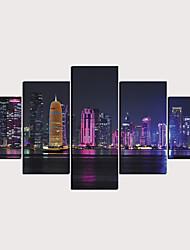 Недорогие -С картинкой Роликовые холсты - Пейзаж Архитектура Классика Modern 5 панелей
