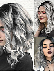 cheap -Synthetic Wig / Ombre Body Wave Kardashian Style Bob Capless Wig Ombre Grey Synthetic Hair 12INCH Women's Fashionable Design / Life / Classic Ombre Wig Short Natural Wigs