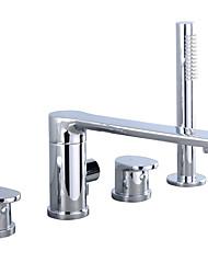 Недорогие -Смеситель для душа - Современный Хром Другое Керамический клапан Bath Shower Mixer Taps / Латунь / Две ручки Четыре отверстия