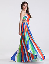 billige -kvinders maxi slanke swing kjole rem regnbue s m l