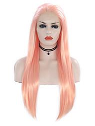 halpa -Synteettiset pitsireunan peruukit Suora Tyyli Vapaa osa Lace Front Peruukki Vaaleanpunainen Pinkki Synteettiset hiukset 18-24 inch Naisten Säädettävä / Heat Resistant / Party Vaaleanpunainen Peruukki