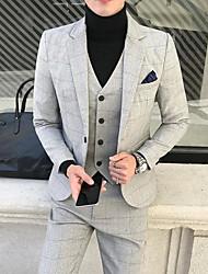 preiswerte -Solide / Kariert Reguläre Passform Baumwolle Anzug - Fallendes Revers Einreiher - 1 Knopf