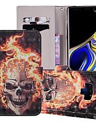 billige -Etui Til Samsung Galaxy Note 9 Pung / Kortholder / Med stativ Fuldt etui Dødningehoveder Hårdt PU Læder for Note 9