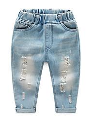 abordables -Enfants Garçon Basique / Chic de Rue Couleur Pleine Troué / Déchiré Coton Jeans Bleu clair