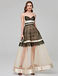 Χαμηλού Κόστους -Γραμμή Α Λεπτές Τιράντες Μέχρι τον αστράγαλο Δαντέλα / Οργάντζα Φόρεμα με Βολάν / Εισαγωγή δαντέλας με TS Couture®