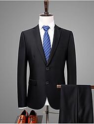 preiswerte -Schwarz Solide Reguläre Passform Baumwolle Anzug - Fallendes Revers Einreiher - 2 Knöpfe