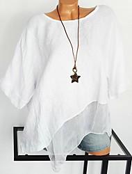 Недорогие -Жен. Кружева / Сетка / Пэчворк Большие размеры - Рубашка Хлопок Крупногабаритные Уличный стиль / преувеличены Однотонный Белый XXXL