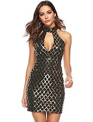 זול -מעל הברך פאייטים, אחיד - שמלה גזרת A ישרה נדן מתוחכם אלגנטית בגדי ריקוד נשים