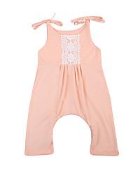 abordables -bébé Fille Actif / Basique Couleur Pleine / Mosaïque Dentelle Sans Manches Coton Une-Pièce Vert