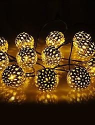 Недорогие -1 компл. Светодиодный фонарь солнечный свет строка 10 м 50 свет марокканский шар железный шар открытый водонепроницаемый свет украшения сада свет