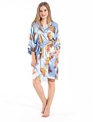 cheap -Women's Satin & Silk Nightwear - Split / Print Floral