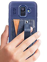 ราคาถูก -Case สำหรับ Samsung Galaxy A6 (2018) Card Holder / Shockproof / Dustproof ปกหลัง สีพื้น Hard หนัง PU สำหรับ A6 (2018)