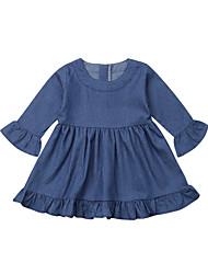 abordables -bébé Fille Actif / Basique Couleur Pleine A Volants Manches 3/4 Coton Robe Bleu