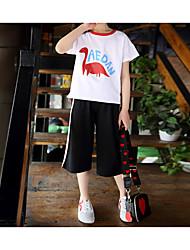 abordables -Enfants Fille Actif / Chic de Rue Couleur Pleine / Bande dessinée Imprimé Manches Courtes Normal Normal Coton / Spandex Ensemble de Vêtements Blanc