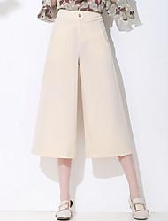 levne -Dámské Základní Široké nohavice Kalhoty - Jednobarevné Velbloudí
