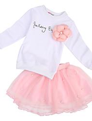 abordables -Enfants / Bébé Fille Actif Fleur / Mosaïque Maille / Imprimé Manches Longues Coton Ensemble de Vêtements Rose Claire