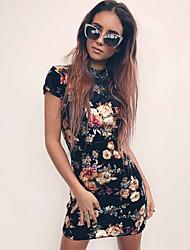 Недорогие -Полиэфир Клубное платье Супер секси Цветочный принт Особые случаи Цепочки Комбинезоны для ночного клуба