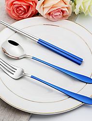 Недорогие -посуда 3шт Экологичные Новый дизайн Нержавеющая сталь Столовая вилка Дессертная ложка палочки для еды