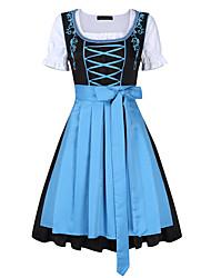 Недорогие -Октоберфест Широкая юбка в сборку Trachtenkleider Жен. Платье баварский Костюм Светло-синий Лиловый Зеленый