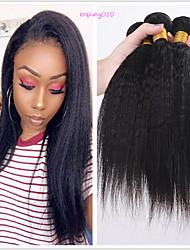 Недорогие -6 Связок Бразильские волосы Естественные прямые Необработанные натуральные волосы Человека ткет Волосы Пучок волос One Pack Solution 8-28 дюймовый Естественный цвет Ткет человеческих волос
