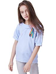 abordables -Enfants Fille Actif / Basique Couleur Pleine Lacet Manches Courtes Polyester Chemisier Bleu