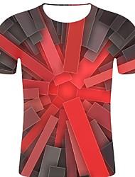 お買い得  -男性用 プリント Tシャツ ロック / 誇張された 3D / 虹色 / グラフィック ルビーレッド XXL