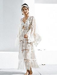abordables -Femme Bohème Maxi Trapèze Robe Couleur Pleine Eté Blanc Taille unique Manches Longues