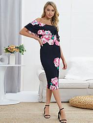 Χαμηλού Κόστους -γυναικεία κοτσίδα λεπτό περίβλημα bodycon φόρεμα από τον ώμο μαύρο s m l xl