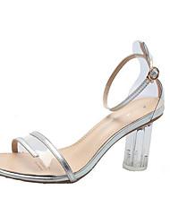 ราคาถูก -สำหรับผู้หญิง PU ฤดูร้อน ไม่เป็นทางการ รองเท้าแตะ ส้นหนา ผ้าขนสัตว์สีธรรมชาติ / เงิน