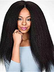 billige -Menneskehår Helblonde Paryk Deep Parting stil Brasiliansk hår Kinky Glat Paryk 130% Hår Densitet Klassisk Nem dressing Bekvem Medium størrelse Naturlig Dame Blondeparykker af menneskehår yingcai