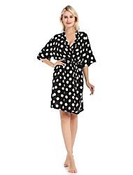 cheap -Women's Satin & Silk Nightwear - Split / Print Polka Dot