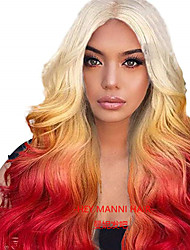 cheap -Synthetic Wig / Synthetic Lace Front Wig Straight / Curly Kardashian Style Middle Part Lace Front Wig Blonde Rainbow Blonde Synthetic Hair 24inch Women's Synthetic / Color Gradient / Middle Part Sew