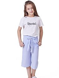 abordables -Enfants Fille Actif / Basique Imprimé Lacet / Imprimé Manches Courtes Normal Normal Coton Ensemble de Vêtements Blanc