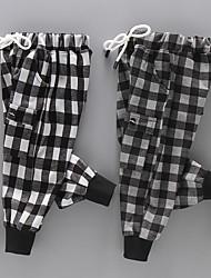 abordables -Enfants Garçon Basique / Chic de Rue Damier / Mosaïque Mosaïque Coton Pantalons Noir