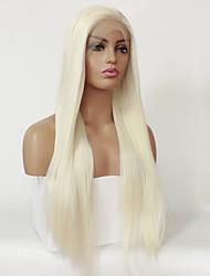Недорогие -Синтетические кружевные передние парики Прямой Стиль Шелковисто-прямые Лента спереди Парик Блондинка Платиновый блондин Искусственные волосы Жен. Природные волосы Блондинка Парик 24 дюймы 26