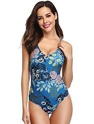 voordelige -Dames Standaard blauw Driehoek String Hoge taille Eendelig Zwemkleding - Geometrisch Blote rug M L XL blauw
