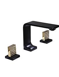 رخيصةأون -بالوعة الحمام الحنفية - واسع الانتشار متعددة الطوابق أخرى مقبضين ثلاثة ثقوبBath Taps