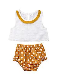 abordables -bébé Fille Actif / Basique Points Polka / Mosaïque Sans Manches Court Coton Ensemble de Vêtements Jaune / Bébé