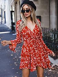 preiswerte -Damen Retro Boho Chiffon Kleid - mit Schnürung, Blumen Übers Knie
