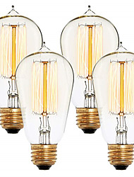 abordables -4pcs 40 W E26 / E27 ST58 Blanc Chaud 2300 k Rétro / Intensité Réglable / Décorative Ampoule incandescente Edison Vintage 220-240 V