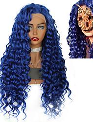 halpa -Synteettiset peruukit / Synteettiset pitsireunan peruukit Kihara / Afro Kinky Jenner Tyyli Keskiosa Lace Front Peruukki Sininen Sininen Synteettiset hiukset 26inch Naisten Klassinen / synteettinen