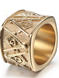 Недорогие -Муж. Кольцо 1шт Золотой Золотой с черным Титановая сталь Геометрической формы Стиль Подарок Повседневные Бижутерия Старинный масон Радость Cool