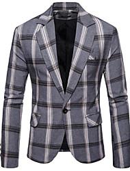 abordables -Noir / Marine / Gris À carreaux Coupe Slim Polyester Costume - Cranté Droit 1 bouton