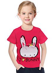 abordables -Enfants / Bébé Fille Actif / Basique Géométrique / Imprimé Imprimé Manches Courtes Polyester / Spandex Tee-shirts Rouge