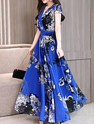 preiswerte -Frauen Maxi Chiffon Kleid V-Ausschnitt Chiffon rot blau grün m l xl xxl
