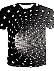Недорогие -Муж. С принтом Большие размеры - Футболка Круглый вырез Уличный стиль / Панк & Готика Геометрический принт / 3D Черный / С короткими рукавами