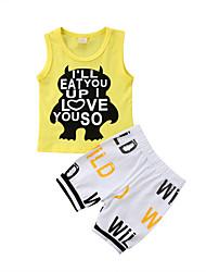 abordables -bébé Garçon Simple / Actif Imprimé Imprimé Sans Manches Normal Coton Ensemble de Vêtements Jaune
