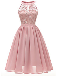 Недорогие -Жен. Тонкие А-силуэт Платье Средней длины Пыльная роза
